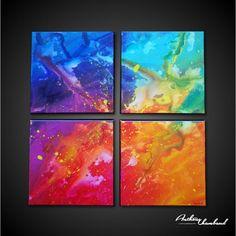 Tableau coloréréalisé avec différentes techniques. Une peinture…