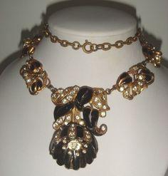 Art Nouveau Rose Trembler Black Clear Floral Necklace  #Unbranded #LAVALIER