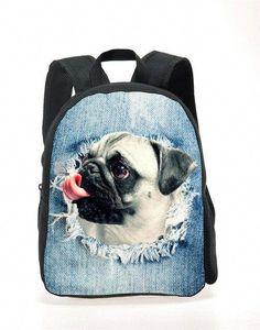 5f43eb08e08e New Cute Pug Puppies Kids school bags 3D Animal Mini Back Pack for Children  Lovely Kindergarten