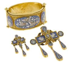 A micromosaic bird motif bangle bracelet together with coordinating brooch and pendant/brooch, circa 1870  mounted in eighteen karat gold; bracelet diameter: 2 3/16in.; brooch length: 1 3/4in.; pendant brooch length: 3 1/8in