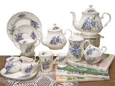 Forget Me Not Heirloom Bone China Tea Set – Service for 4