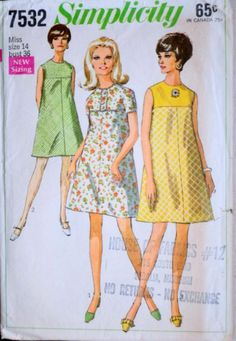 e679255658db7 Vintage 60 s Misses  Dress Simplicity 7532 Sewing Pattern Size 14 36 Bust  Mad Men Mod 1960 s Fashion
