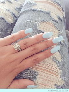 Try this long acrylic matte nails with huge engagement ring