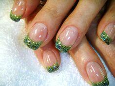 Green glitter french Nails - Nail Art