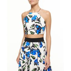 Milly Audrey Floral-Print Halter Crop Top ($200) ❤ liked on Polyvore