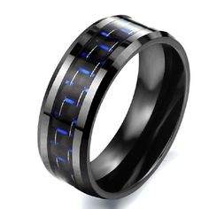 Blue Carbon Fibre Ceramic Titanium Steel Men's Ring