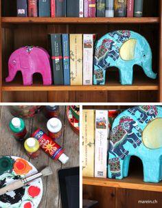 Buchstütze Elefant // Willst du mehr Ordnung im Bücherregal? Hier zeigen wir dir, wie du deine eigenen Buchstützen im orientalischen Stil bastelst! http://www.marein.ch/basteln/6901/buchstutze-elefant/