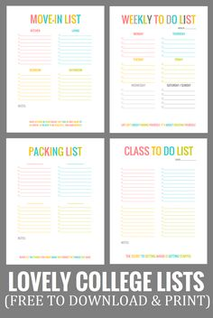 Freebie: Lovely College Lists for packing, moving, classes, and weekly to-dos. (Download & Print!)