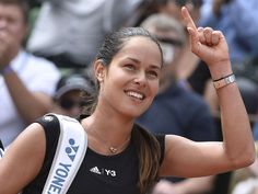 Ana Ivanovic celebrates after winning her match against Elina Svitolina at the French Open.  DOMINIQUE FAGET, AFP/Getty Images