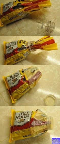 قارورة ماء فارغة + كيس حلوى مفتوح = طريقة حفظ مبتكرة  ^.^