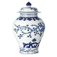 Blue & White Swallowtail Temple Ginger Jar by helen