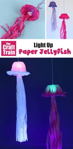 Make a tissue paper jellyfish that lights up in the dark! So simple to make, and you can learn about bioluminescence while you make it. Great for an ocean theme, or a fun Summer craft idea #kidscrafts #oceancrafts #papercraft #kidsactivities #jellyfish #thecrafttrain #tissuepapercrafts #modpodgecrafts Ocean Animal Crafts, Ocean Crafts, Animal Crafts For Kids, Paper Crafts For Kids, Summer Activities For Kids, Summer Crafts, Toddler Crafts, Crafts For Kids To Make, Craft Activities