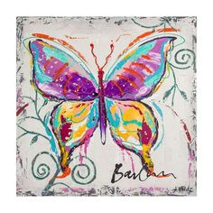 Quadro Pintura Butterfly Rosa e Azul 100x100 Fullway