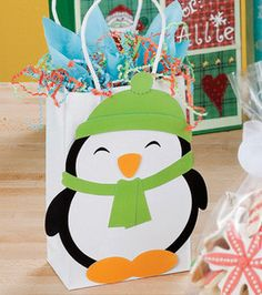 Penguin gift bag - its only August, never to early to plan that first birthday!