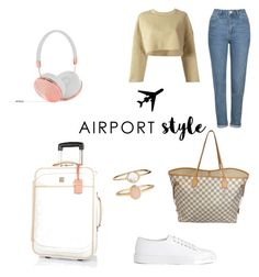 """""""Airport Style ✈️🌎"""" by steffpitman on Polyvore featuring Topshop, adidas Originals, Joseph, Louis Vuitton, River Island, Frends and Accessorize"""