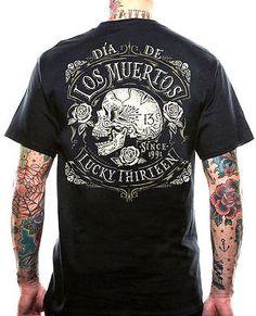 7f69e2d60ec Lucky 13 dead skull muerte biker rockabilly tattoo biker t shirt