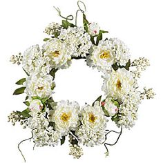 Pristine white blossoms and fresh-looking greenery trumpet the advent of spring when you display this lovely wreath on your front door as a greeting for all who enter. Realistic silk peonies and hydra