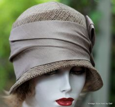 Classic Vintage Style 20's Cloche Hat in Taupe Wool Fabric for Fall and Winter - product images  of