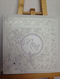 Sue Wilson ornate holly framed Noel