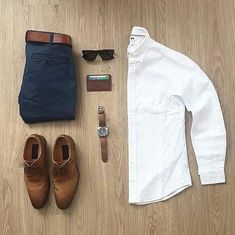 Men's outfit grid - white oxford button down