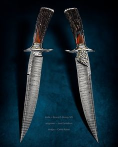 A gallery of work by Bruce Bump, ABS Master Smith. Both an artist and educator in the American heritage of knife making and innovation based in Walla Walla, Washington. Damascus Blade, Damascus Knife, Damascus Steel, Cool Knives, Knives And Tools, Knives And Swords, Throwing Knives, Samurai Swords, Handmade Knives