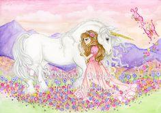 Unicorn Princess wall art girls room decor by Wishsongdesign