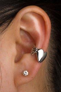silver angel heart ear cuff