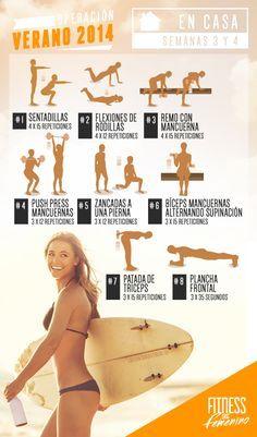 Rutina de entrenamiento para el primer mes de una mujer que se inicia en el fitness. Son dos rutinas diferentes, para las que entrenan en casa o en el gym