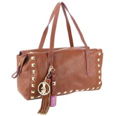 Christian Audigier Eugenie Satchel Bag - Cognac  List Price: $120.00 Sale Price: $44.00