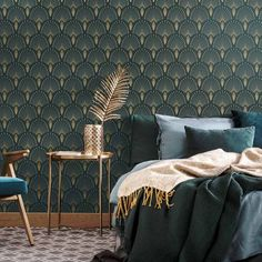Go back to the swinging thanks to from our Art Déco products! Created by Papermint, new wall decoration brand from Paris. Space Wallpaper, Art Deco Wallpaper, Art Deco Bedroom, Bedroom Decor, Bedroom Ideas, Interiores Art Deco, Dark Green Rooms, Estilo Art Deco, Small Space Interior Design