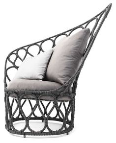 Kenneth Cobonpue - Forma Easy Armchair: A contemporary collection perfect for both indoor and outdoor spaces, the balanced shape of the armchair and the daybed make them ideal to recline in. Designed by Federica Capitani, the thin steel frame is dressed with three different diameter threads emphasizing Forma's modern feel. #DesignOnHPMkt #HPMKT