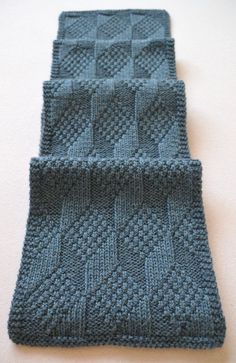 Free Knitting Pattern for Reversible Asherton Scarf - This geometric tumbling blocks pattern looks the same on both sides. The geometric effect depends on how much you block it. It can look very sharp with blocking as in the pictured project or more wavy without much blocking. Designed by SmarieK. Pictured project by Carmela-Biscuit who also created a chart.