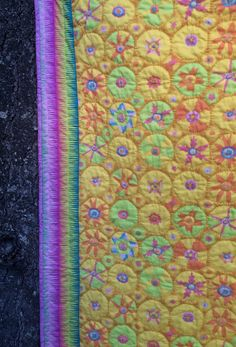 Hand quilted Lap quilt Suzani print throw by anotherghostquilts