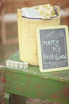 I love the idea of something like this on a table.  You and JP can write sweet messages to one another on the chalkboard.  Precious :)  @Casey Crooms