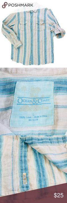 "Ocean & Coast Linen Mens Large Blue Ivory Striped Thank you for shopping my closet!  This shirt is in EUC.   Item Brand: Ocean & Coast  Size: Large  Color: Blue/Ivory  Material: 100% Linen  Measurements: Underarm To Underarm (Lying Flat):   23"" Length (Base Of Collar To Bottom Of Hem): 33"" Sleeve Length (From Shoulder Seam To End Of Cuff):  25"" Ocean & Coast Tops Button Down Shirts"