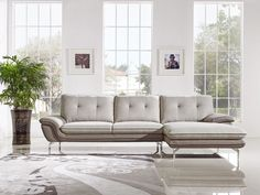 Divani Casa Indio Modern Grey Fabric Sectional Sofa Overall: x x Depth: Height: Upholstered In Fabric Color: Light Grey U Shabby Chic Furniture, Living Room Furniture, Living Room Decor, Fabric Sectional, Sectional Sofa, Sofa Design, Interior Design, Decoration Inspiration, Upholstered Sofa