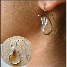 Beauty 925 Silver Gold Cobra Snake Earrings Jacket Valentine Day Jewelry Gift - Snake Jewelry - Ideas of Snake Jewelry Snake Earrings, Snake Jewelry, Cute Jewelry, Crystal Earrings, Body Jewelry, Dangle Earrings, Silver Jewelry, Jewelry Accessories, Diamond Earrings