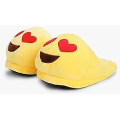 Boohoo Heart Eye Emoji Slippers ($20) ❤ liked on Polyvore featuring shoes, slippers and yellow