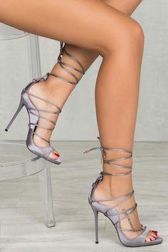 Mista Satin Lace Up Heel (Grey)
