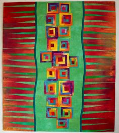 Art quilt, abstract quilt, wall hanging- Stepping Stones