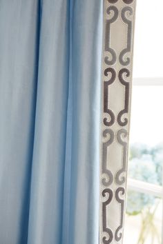 Trend 01838 Glacier Drapes with Zimmer Rohde Velvet Scroll Trim Navy Gray 2860012598 House Blinds, House Windows, Blinds For Windows, Windows Decor, Shutter Blinds, Curtains And Draperies, Drapery Panels, Bedroom Drapes, Luxury Curtains