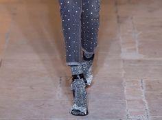 Embellished Denim with metallic socks and sandals.