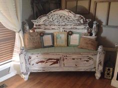 Old bed turned bench