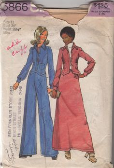 Simplicity 5866 Misses Maxi Skirt Pants and Bellhop Jacket Pattern Western Womens Vintage Sewing Pattern Size 12 Bust 34 Simplicity Sewing Patterns, Vintage Sewing Patterns, Clothing Patterns, Clothing Ideas, Dress Patterns, Patterned Jeans, Vintage Outfits, Vintage Fashion, Vintage Dress