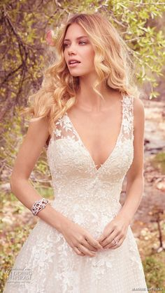 maggie sottero spring 2017 bridal sleeveless lace strap deep v neck heavily embellished bodice romantic a line wedding dress low back chapel train (meryl) zv