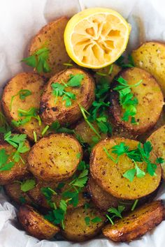 Greek Lemon Potatoes | The Greek Glutton | I would either bake about 10 min. longer or raise the temperature to 425 degrees. I used a tad less olive oil. Lovely recipe!