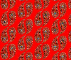 rainbow_paisley_red fabric by stradling_designs on Spoonflower - custom fabric