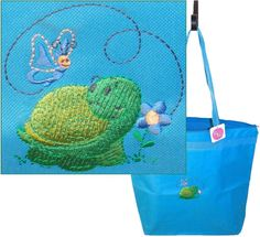 Turtle & Butterfly Spring Flower Tote Bag Large Turquoise Zipper Garden Monogram #LibertyBags #TotesShoppers