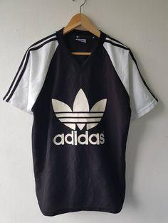 52451fd16 Vintage 90s ADIDAS Trefoil Giant Logo Hip-Hop Sportwear T-Shirt Soccer  Raglan Jersey Size F
