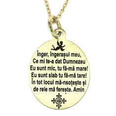 Pandantiv Inger, ingerasul meu aur galben Acest medalion care poate fi comandat din aur galben, aur roz sau modelat din argint, contine gravata rugaciunea crestina catre ingerul pazitor. De asemenea, prezinta si imaginea unui inger si a unei cruci, care incadreaza armonios versurile acestui poem religios. Dog Tags, Dog Tag Necklace, Personalized Items, Model, Jewelry, Teal Tie, Jewlery, Bijoux, Schmuck